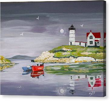 Canvas Print featuring the painting Evening Lighthouse by Phyllis Kaltenbach