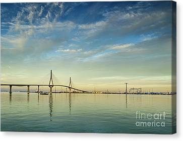 Evening Lights On The Bay Cadiz Spain Canvas Print