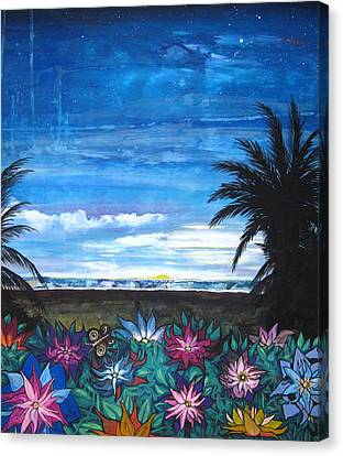 Tropical Evening Canvas Print by Mary Ellen Frazee