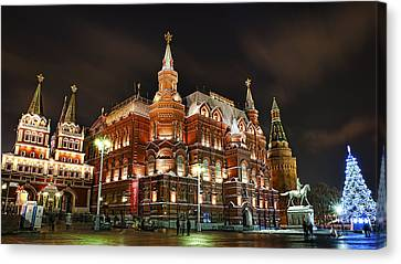Canvas Print featuring the photograph Evening Moscow  by Gouzel -