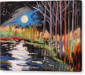 Evening Near The Pond Canvas Print by John Williams