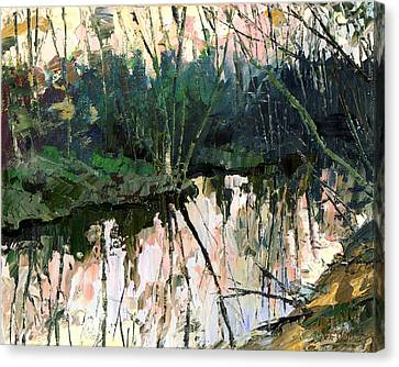 Canvas Print featuring the painting Evening On A Spring River by Sergey Zhiboedov