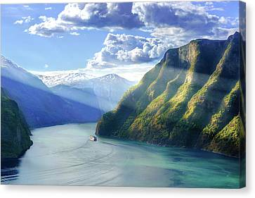 Canvas Print featuring the photograph Evening Over Geirangerfjord by Dmytro Korol