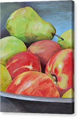 Evening Pears And Apples Canvas Print by Mary Chant