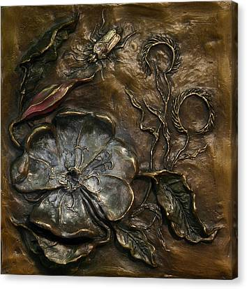 Canvas Print featuring the sculpture Evening Primrose by Dawn Senior-Trask