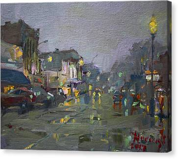 Evening Rain At Webster St Canvas Print