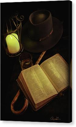 Canvas Print featuring the photograph Evening Reading by Ann Lauwers