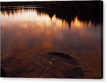 Evening Reflections After A Rainy Day Canvas Print by Larry Ricker
