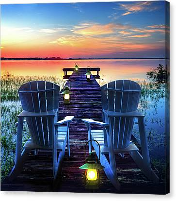 Canvas Print featuring the photograph Evening Romance by Debra and Dave Vanderlaan