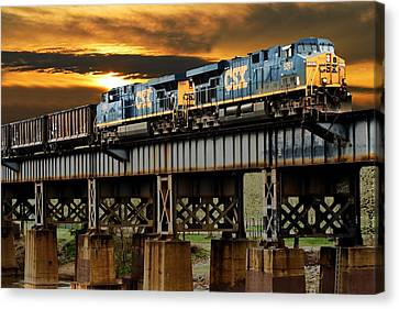 Train Tracks Canvas Print - Evening Run by Tim Wilson