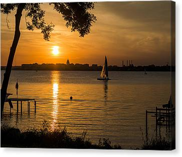 Evening Sail - Madison - Wisconsin Canvas Print by Steven Ralser