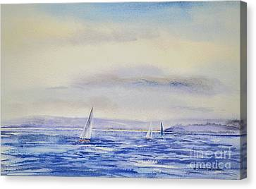 Evening Sail On Little Narragansett Bay Canvas Print by Joan Hartenstein