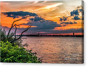 Evening Sky On The Delaware River Canvas Print by Nick Zelinsky