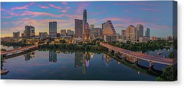 Frost Tower Canvas Print - Evening Skyline Of Austin, Texas 7-4 by Rob Greebon