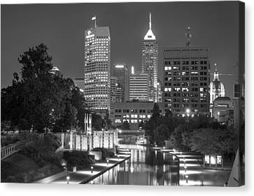 Evening Skyline Of Indianapolis Indiana Canvas Print by Gregory Ballos
