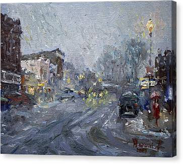 Evening Snowfall At Webster St Canvas Print by Ylli Haruni