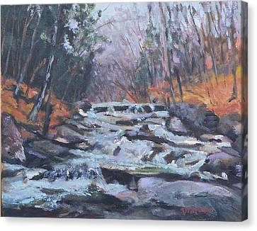 Evening Spillway Canvas Print by Alicia Drakiotes