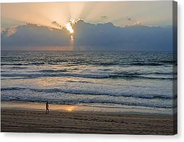 Evening Stroll On Mission Beach Canvas Print by Susan  McMenamin
