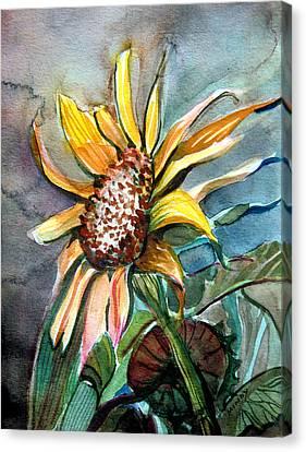 Evening Sun Flower Canvas Print by Mindy Newman
