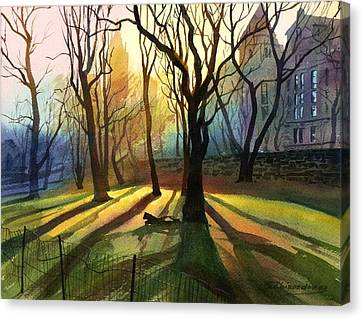 Canvas Print featuring the painting Evening Sunbeams by Sergey Zhiboedov
