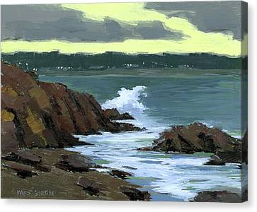 Evening Surf Canvas Print by Mary Byrom