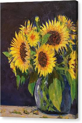 Evening Table Sun Flowers Canvas Print