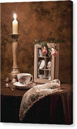 Candle Lit Canvas Print - Evening Tea Still Life by Tom Mc Nemar