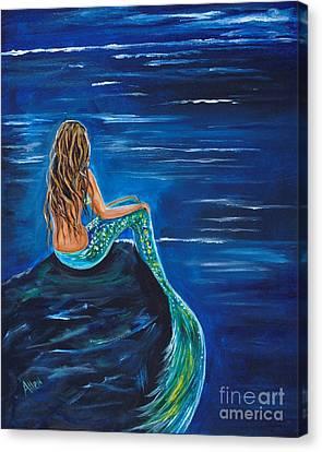 Evening Tide Mermaid Canvas Print by Leslie Allen