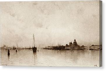 Evening   Venice Canvas Print by Marie Joseph Leon Clavel
