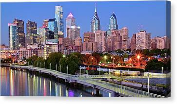 Evening Walk In Philly Canvas Print by Frozen in Time Fine Art Photography