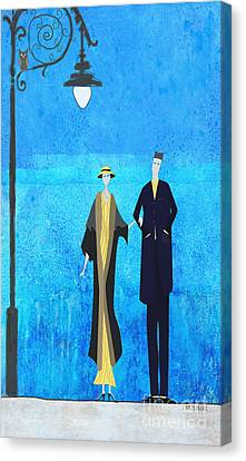 Woman And Owl Canvas Print - Evening Walk by J Ripley Fagence