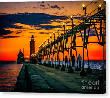 Evening Walk On The Grand Haven Pier Canvas Print