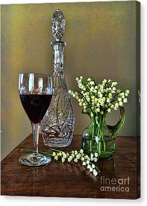 Evening Wine And Flowers  Canvas Print by Luther Fine Art
