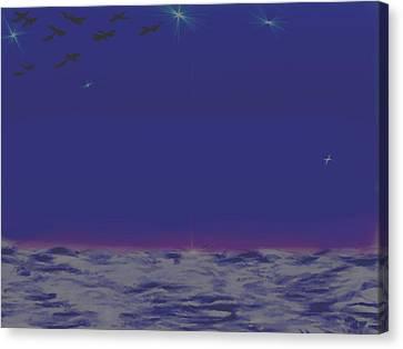 Canvas Print featuring the digital art Evening.birds by Dr Loifer Vladimir