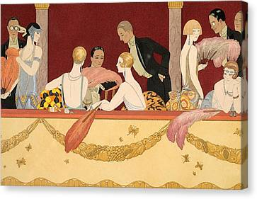 Ostrich Feathers Canvas Print - Eventails by Georges Barbier