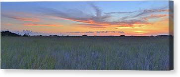 Canvas Print featuring the photograph Everglades Sunset Panorama by Stephen  Vecchiotti