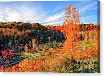 Evergreen Brick Works Autumn Canvas Print by Charline Xia