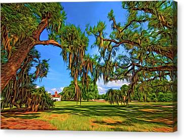 Evergreen Plantation Canvas Print - Evergreen Plantation - Paint by Steve Harrington