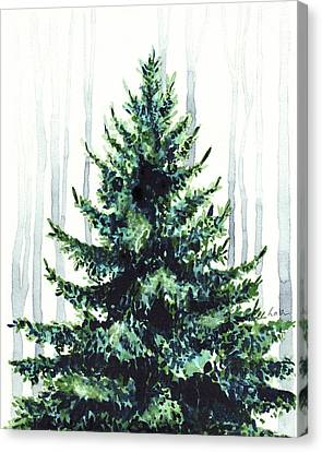 Evergreen Tree In Winter Woods Watercolor Painting Christmas Holiday Wintertime  Canvas Print by Laura Row