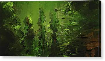 Evergreens - Green Abstract Art Canvas Print by Lourry Legarde