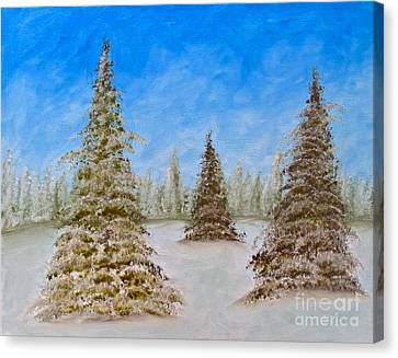 Evergreens In Snowy Field Enhanced Colors Canvas Print