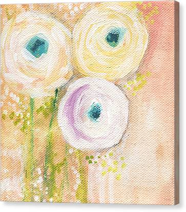 Rose Cottage Gallery Canvas Print - Everlasting- Expressionist Floral Painting by Linda Woods