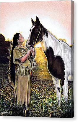 Native American Clothes Canvas Print - Everlasting Love A Maiden And Spot by Andrew Read
