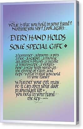 Every Hand Canvas Print by Judy Dodds