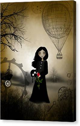 Goth Girl Canvas Print - Every Rose Has It's Thorn by Charlene Zatloukal