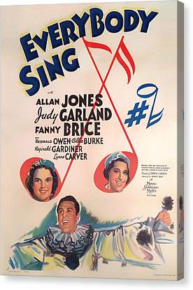 Singing Canvas Print - Everybody Sing 1938 by Mountain Dreams