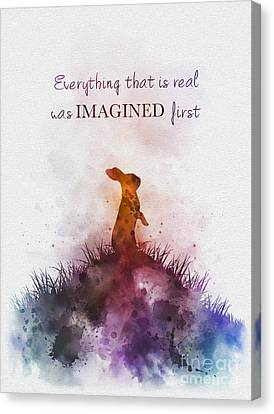 Rabbit Canvas Print - Everything That Is Real Was Imagined First by Rebecca Jenkins