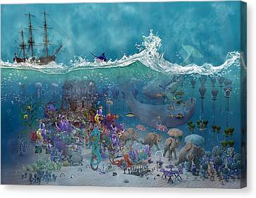 Night Sky Canvas Print - Everything Under The Sea by Betsy Knapp