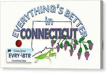 Everything's Better In Connecticut Canvas Print by Pharris Art