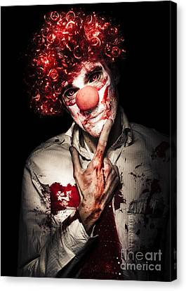 Evil Blood Stained Clown Contemplating Homicide Canvas Print by Jorgo Photography - Wall Art Gallery